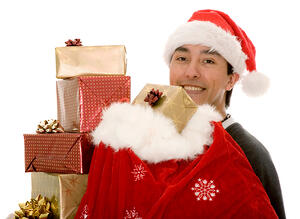 santa claus full of gifts over a white background-1